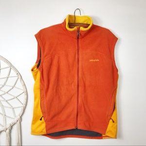 Patagonia Orange Yellow Fleece Zip Front Vest